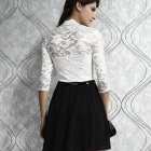 LC2886 Sexy Belted Lace V-neck Half Sleeve Dress - White (Free)