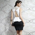 LC2859 Sleeveless Flounce Back Cut-Out Top Slim Dress - White (Free)