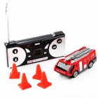 Mini 1:42 Scale Racing Bottled R/C Fire Truck Toy - White + Red + Multi-Color (2 x AA)