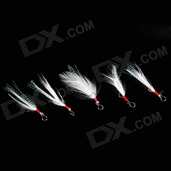 Stainless Steel + Feather Fishing Hook - Silver + White (5PCS)