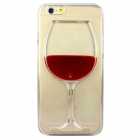 Red Wine Glass Pattern Protective TPU Back Case for IPHONE 6 - Red + Transparent