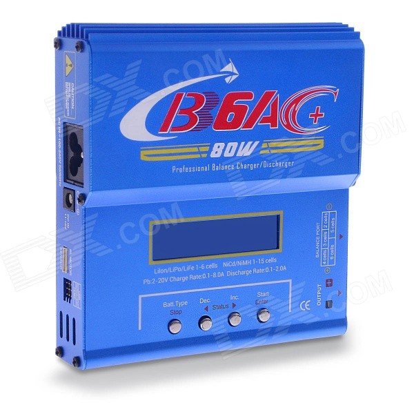 B6AC Updated 2.5 80W Battery Balanced Charger (EU Plug)Chargers<br>Form  ColorBluePower AdapterEU PlugModelB6ACQuantity1 DX.PCM.Model.AttributeModel.UnitMaterialAluminum alloyCharging Cell TypeNi-MH,NiCd,Lithium Ion,Others,Li-Fe, Pb, LiPoCharging Battery TypeAAA,6F22,10440,14500,17670Rechargeable Battery Qty1~15Target Country &amp; RegionEuropean countriesBuilt-in Protected CircuitYesInput Voltage100~240 DX.PCM.Model.AttributeModel.UnitOutput Voltage11~18 DX.PCM.Model.AttributeModel.UnitMax. Output Current6 DX.PCM.Model.AttributeModel.UnitFast Charging FunctionYesLCD ScreenYesAuto Circuit DetectionYesIndicatorCharging displayOver Voltage ProtectionYesShort-Circuit ProtectionYesOver-Charging ProtectionYesOver-Discharging ProtectionYesPacking List1 x B6AC balanced charger (with 2.5inch  display screen)1 x Alligator clip cable (25cm)1 x Charging cable (EU plug / 75cm)1 x Connecting cable (25cm)1 x English user manual<br>