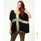 Stylish Cross Pattern Sequins Decoration Round Neck Half-sleeved Loose T-shirt - White + Gold (M)