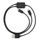 USB M to 2*Micro USB F Charging Cable for Cellphone - Black (50cm)