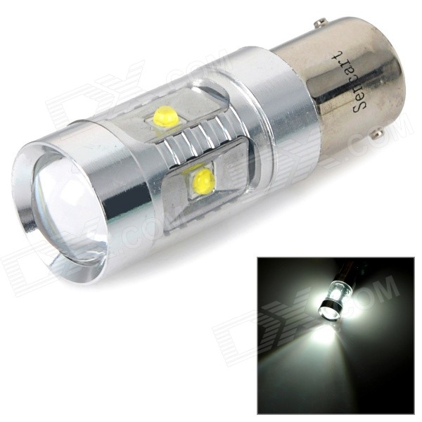 1156 / P21W / Ba15s 30W 6000K 400lm White LED Car Light - Silver White
