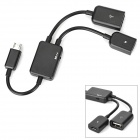1-to-2 Micro USB Male to USB Female + Micro USB Female OTG Data Cable - Black
