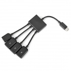 Micro USB macho a hembra 2.0 Hub Cable adaptador hembra + 1 -Micro USB w / Switch 3 -USB - Negro