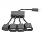 Micro USB Male to 3-USB 2.0 Female + 1-Micro USB Female Adapter Hub Cable w/ Switch - Black