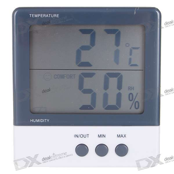 "3.8"" LCD Indoor/Outdoor Digital Humidity/Hygrometer and Thermometer (1*AAA)"