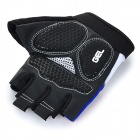 WOLFBIKE Half-Finger Silicone Cycling Gloves - Blue + Black (XL)