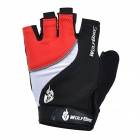 WOLFBIKE Half-Finger Silicone Cycling Gloves - Red + Black (M)