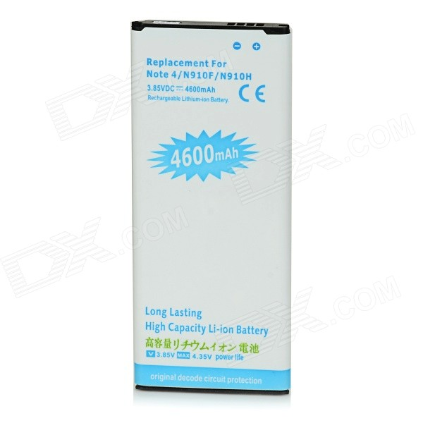 "3.85V ""4600mAh"" Battery for Samsung Galaxy Note 4 / N9100 - White+Blue"