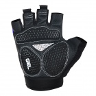 WOLFBIKE Half-Finger Silicone Cycling Gloves - Blue + Black (L)