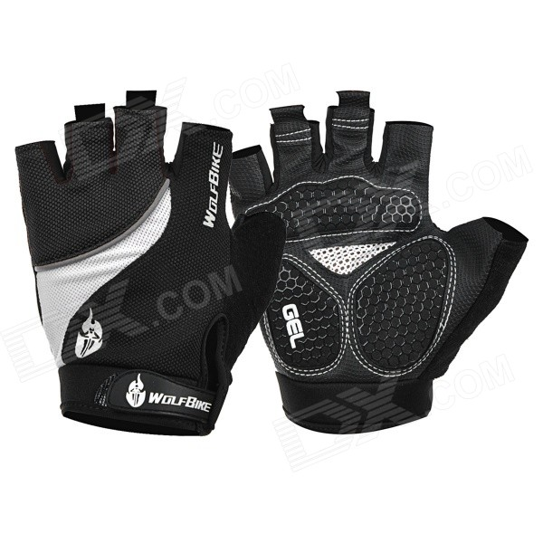WOLFBIKE Half-Finger Silicone Cycling Gloves - Black + White (XL)