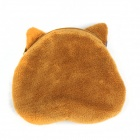 Women's Cat Pattern Plush Change Coin Purse Pouch - Grey + Yellow