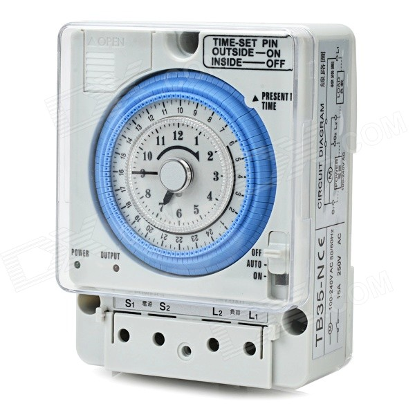 TB35 -N ABS 12H Time Set Switch - Серый + синий (AC 100 ~ 240 В)