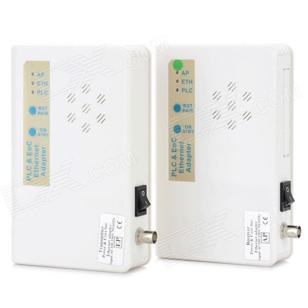 AC 100~240V PLC &amp; EoC / PoE Transceiver Adapter - White (2PCS)AV Adapters And Converters<br>Form ColorWhiteMaterialABSQuantity1 DX.PCM.Model.AttributeModel.UnitShade Of ColorWhiteCable Length140 DX.PCM.Model.AttributeModel.UnitConnectorOthers,RJ45,BNCPower AdapterUS PlugsPower SupplyAC 100~240VPacking List2 x Adapters2 x US Plug power cable (140cm)1 x English user manual1 x Chinese user manual<br>