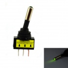 Jtron 12V Car Modification Power Toggle Switch with Green LED Indicator - Black + Green