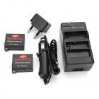Battery Charger + 2 x 1680mAh Li-ion Batteries + EU Plug Adapter + Car Charger for GoPro Hero 4