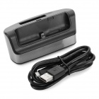 Battery Charging Dock w/ Micro USB Cable for Samsung - Black + Silver