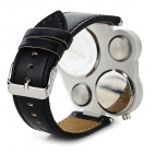 Oulm Men's PU Leather Band Analog Quartz Watch - Black