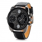 Oulm HP9316 Fashion Men's Dual Time Display Analog Quartz Watch - Black (1 x 10#)