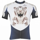 Paladinsport Men's Little Tiger Patterned Short-sleeved Cycling Jersey Top - White + Blue (S)