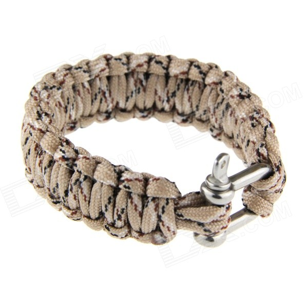 Outdoor Emergency Survival Nylon Bracelet w/ U-shaped Stainless Steel Shackle - Camouflage