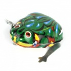 Retro Creative Stainless Steel Toy Jump Frog - Green + White