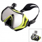 PANNOVO Tempered Glass Camera Diving Glasses Mask w/ Mount for GoPro Hero 4 + More - Green + Black