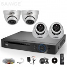 SANNCE 4CH AHD 960H HDMI DVR System with 4 x 800TVL Indoor Day/Night IR Dome Cameras (No HDD)