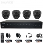 SANNCE 4-CH AHD 960H HDMI DVR System w/ 800TVL Indoor Day/Night Dome Camera (US Plug / 100~240V)