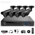 SANNCE 4CH 960H DVR System w/ 4 x 800TVL Waterproof Outdoor Day/Night Bullet Cameras (US Plug)