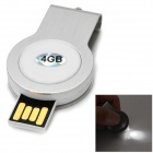 B5211 USB 2.0 Mini Flash Drive w/ LED Light - White (4GB / 1 x CR2016)