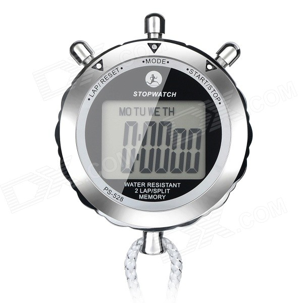 "PS-528 1.4"" Screen Round Digital Countdown Timer Stopwatch - Silver"