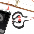 Universal Ear-Hook Style Earphone for Mobile Phone - Black + Red