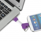 Key Ring Style USB til Micro 5Pin Cable for HTC - Lilla + Hvit (7.4cm)