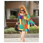 Bohemian Style Hainan Scenery Pattern Casual Shirt Top - Red + Multi-Colored (M)