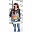 Bohemian Style Hainan Scenery Pattern Casual Shirt Top - Black + Red (M)