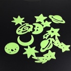 Glow-in-the-Dark Stars Style Wall Stickers - Green (12PCS)