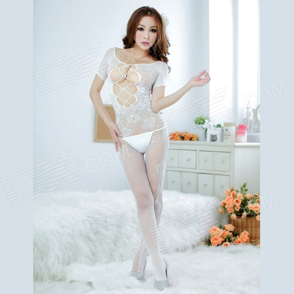 Sexy Lingerie Jacquard Mesh Conjoined Suit - White