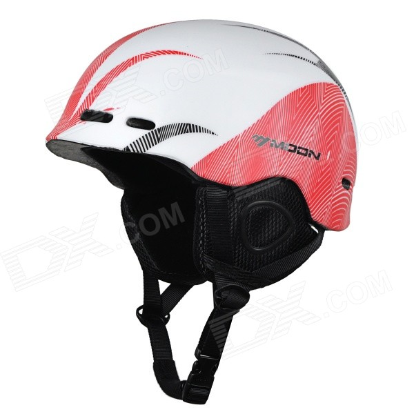 Moon MOM-20 Outdoor Light Helmet for Skiing - White + Red (M)
