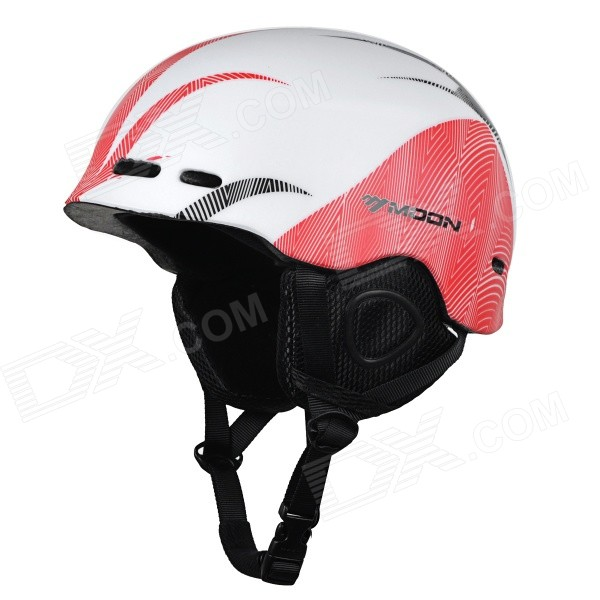 Moon MOM-20 Protective Outdoor Light Helmet for Skiing - White + Red (L)