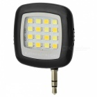 Smart 16-LED Warm White Light 3-Mode Fill Light for Mobile Phone - Black