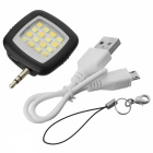 Smart 16-LED Warm White 3-Mode Fill Light for Mobile Phone - Black