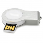 Mini 360 'rotary 16GB USB 2.0 flash drive w / luz LED - branco + prata