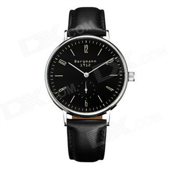 Bergmann 1912 Classic Men's Watch with Second Hand-Black
