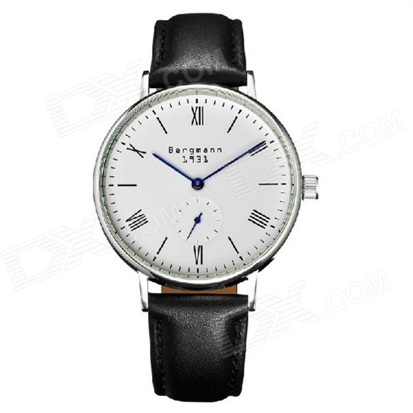 Bergmann 1931 Classic Women's Watch with Second Hand-Black + White