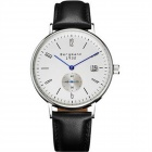 Genuine Bergmann 1932 Classic Unisex Leather Strap Watch - Black + White