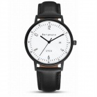 Genuine Bergmann 1933 Classic Unisex Leather Strap Watch with Calendar - Black + White